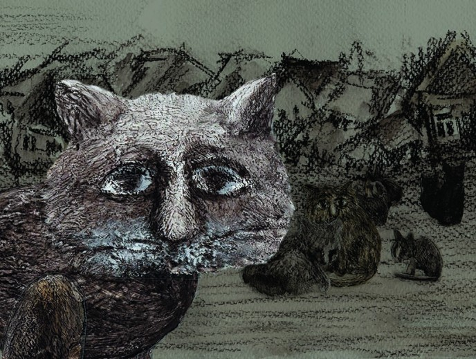 """""""Khelom's Customs"""". A frame from animated film."""